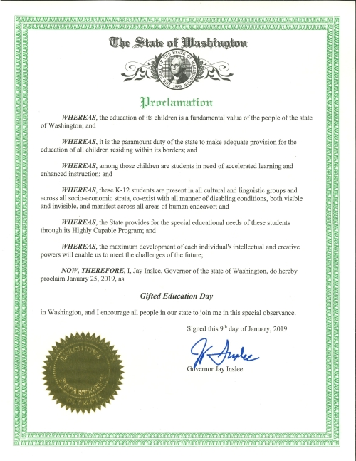 gifted education day proclamation 2019
